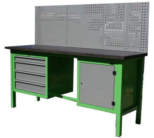 S/W/1/09 - Stół warsztatowy  z kratownicą i szafkami;